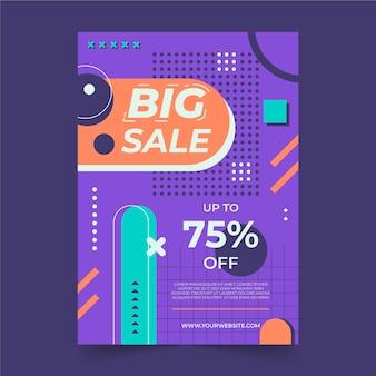 Modèle d'affiche de vente abstrait plat