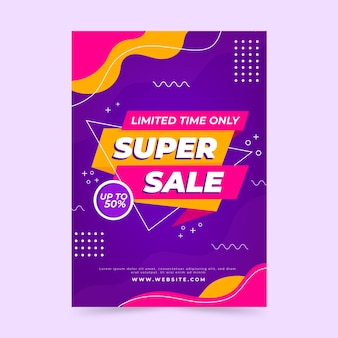 Modèle d'affiche de vente abstraite plat