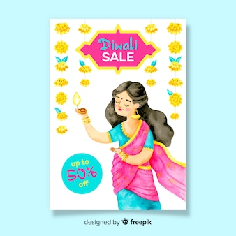 Modèle d'affiche de vente aquarelle diwali