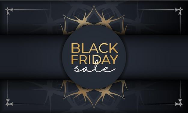 Modèle d'affiche de vente bleu foncé vendredi noir avec ornement doré vintage