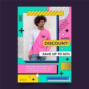 Modèle d'affiche de vente design plat avec photo