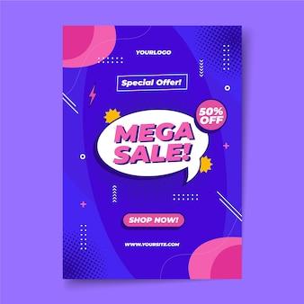 Modèle d'affiche de vente design plat