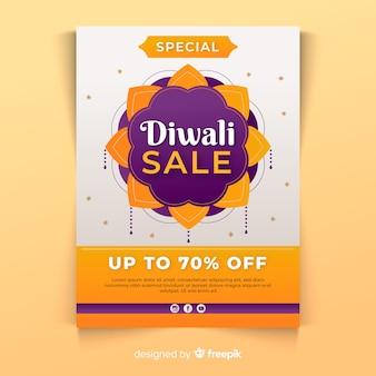 Modèle d'affiche de vente diwali au design plat