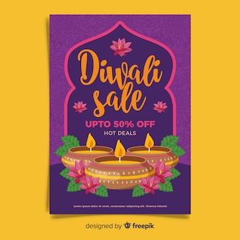 Modèle d'affiche de vente diwali dessiné à la main