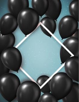 Modèle d'affiche de vente du vendredi noir avec des ballons noirs réalistes. arrière-plan du modèle