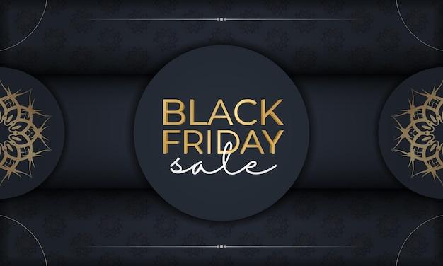 Modèle d'affiche de vente du vendredi noir bleu foncé avec ornement luxueux en or