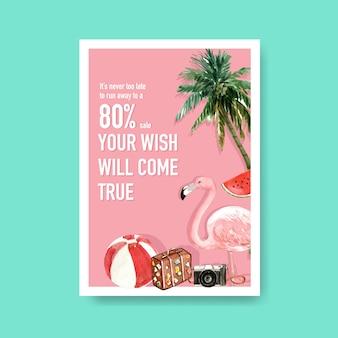 Modèle d'affiche de vente d'été dessiné à la main