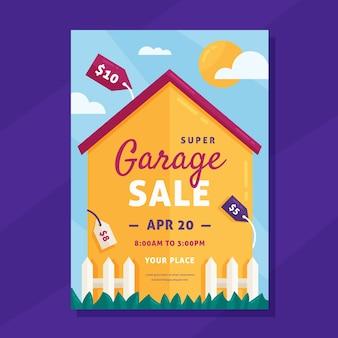 Modèle d'affiche de vente de garage illustré