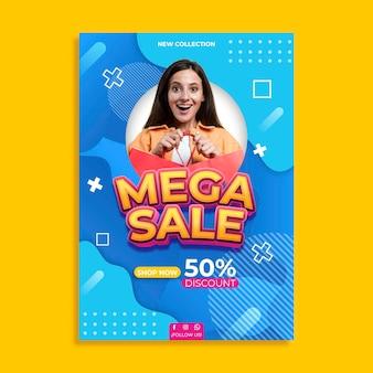Modèle d'affiche de vente avec photo