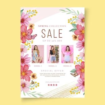 Modèle d'affiche de vente de printemps aquarelle