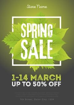 Modèle d'affiche de vente de printemps avec des feuilles et un cadre sur fond noir vert. illustration vectorielle.