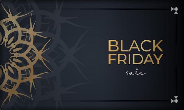 Modèle d'affiche de vente vendredi noir bleu foncé avec motif doré ancien