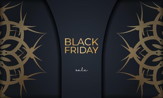 Modèle d'affiche de vente vendredi noir avec motif doré grec