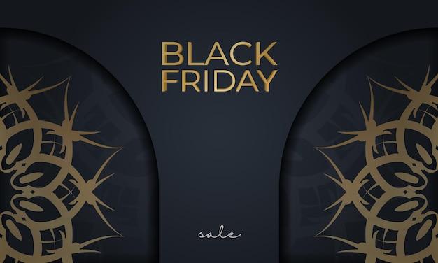 Modèle d'affiche de vente vendredi noir avec ornement doré grec