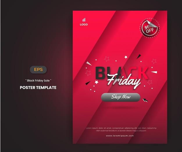 Modèle d'affiche de vente de vendredi noir