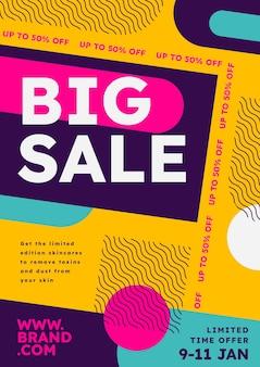 Modèle d'affiche de vente verticale abstraite plat