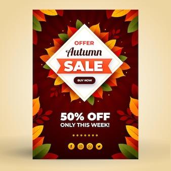 Modèle d'affiche de vente verticale automne plat