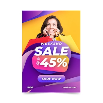 Modèle d'affiche de vente verticale dégradé avec photo