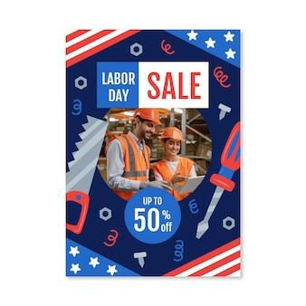 Modèle d'affiche de vente verticale de la fête du travail dessiné à la main avec photo