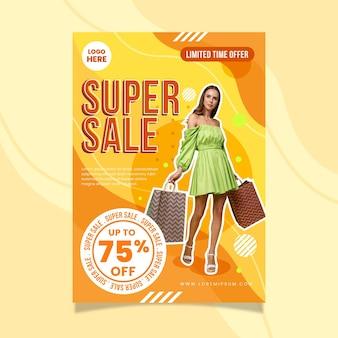 Modèle d'affiche de vente verticale plate avec photo