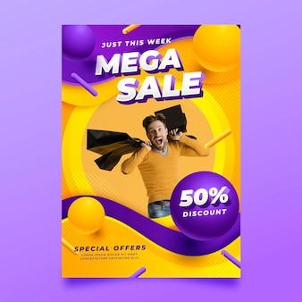 Modèle d'affiche de vente verticale réaliste avec photo