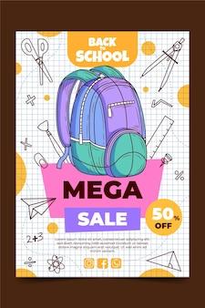 Modèle d'affiche de vente verticale de retour à l'école dessiné à la main