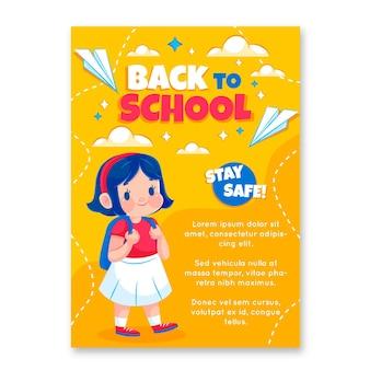 Modèle d'affiche vertical détaillé de retour à l'école