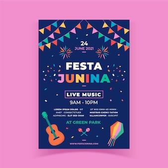 Modèle d'affiche vertical plat festa junina
