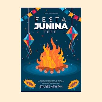 Modèle D'affiche Vertical Plat Festa Junina Vecteur gratuit
