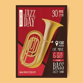 Modèle d'affiche vertical réaliste de la journée internationale du jazz