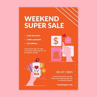 Modèle d'affiche verticale d'achat en ligne