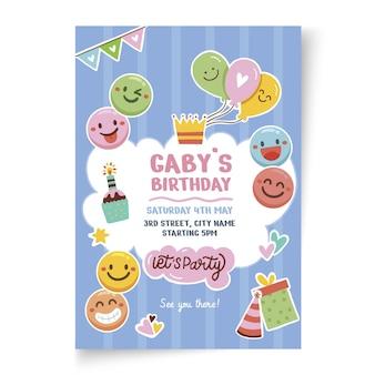 Modèle d'affiche verticale anniversaire pour enfants