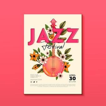 Modèle d'affiche verticale aquarelle journée internationale du jazz