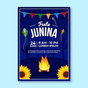 Modèle d'affiche verticale dégradé festa junina