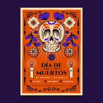 Modèle d'affiche verticale dia de muertos plat dessiné à la main