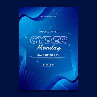 Modèle d'affiche verticale du cyber lundi dégradé