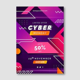 Modèle d'affiche verticale du cyber lundi futuriste dégradé