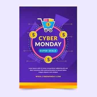 Modèle d'affiche verticale du cyber lundi de technologie plate