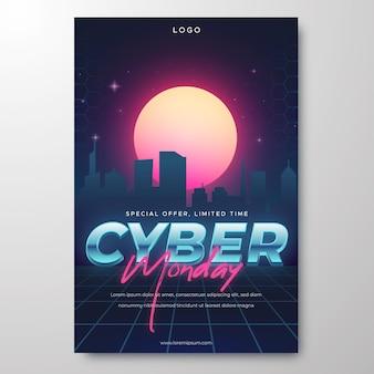 Modèle d'affiche verticale du cyber lundi de technologie réaliste