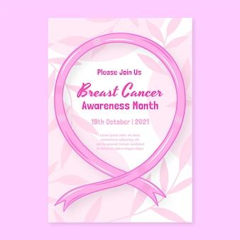 Modèle d'affiche verticale du mois de sensibilisation au cancer du sein dessiné à la main