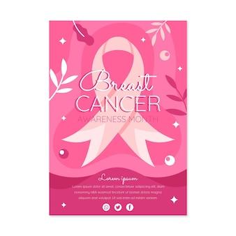 Modèle d'affiche verticale du mois de sensibilisation au cancer du sein plat dessiné à la main