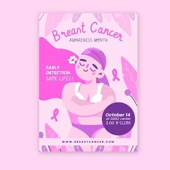 Modèle d'affiche verticale du mois de sensibilisation au cancer du sein plat