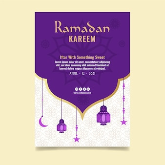 Modèle D'affiche Verticale Du Ramadan Vecteur gratuit