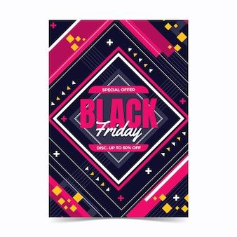 Modèle d'affiche verticale du vendredi noir géométrique plat