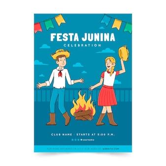 Modèle d'affiche verticale festa junina dessiné à la main