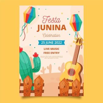 Modèle d'affiche verticale festa junina plat bio
