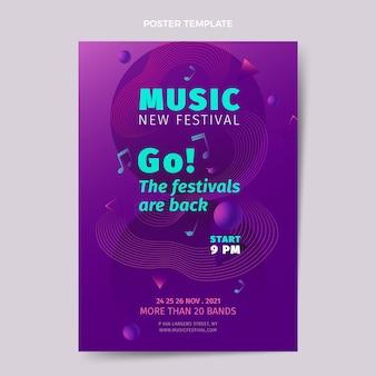 Modèle d'affiche verticale de festival de musique coloré dégradé