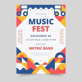 Modèle d'affiche verticale de festival de musique de formes géométriques abstraites
