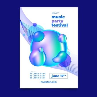 Modèle d'affiche verticale de festival de musique plat