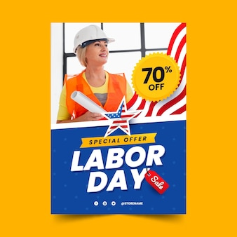 Modèle d'affiche verticale de la fête du travail dégradé avec photo